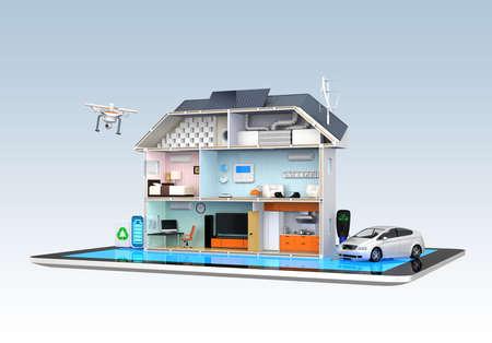 ホーム オートメーションのタブレット PC のコンセプトを監視 写真素材