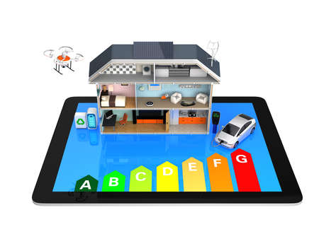 Home automation monitoring by tablet PC concept. Energy efficiency rating chart available Archivio Fotografico