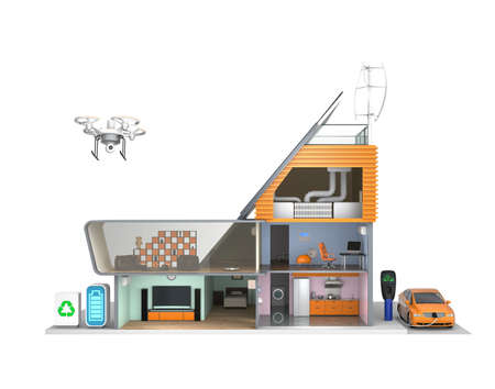 Smart house with energy efficient appliances and solar panel, wind power generator photo