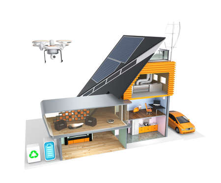 Smart house with energy efficient appliances and solar panel, wind power generator