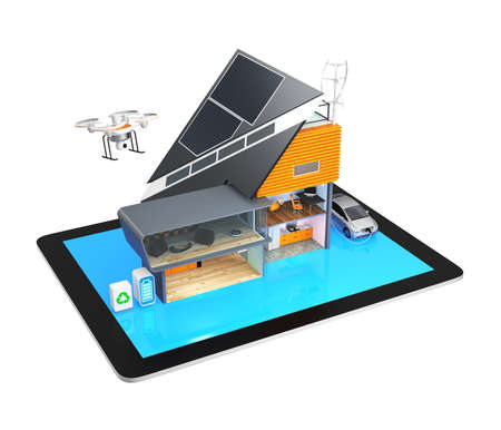 Smart house on a tablet PC isolated on gray background photo