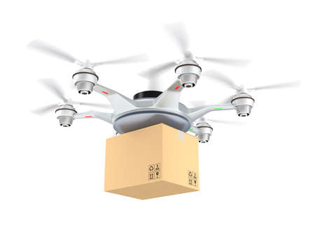 innovating: Drone delivery cardboard package on white background