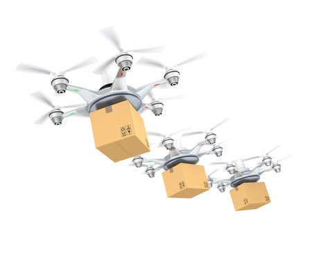 Row of drones delivery cardboard packages for delivery concept