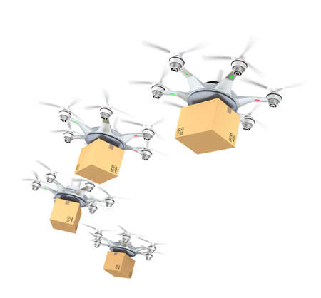 and the air: Row of drones delivery cardboard packages for delivery concept