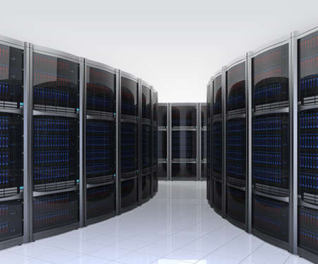 server farm: Row of servers in  data center with simple background