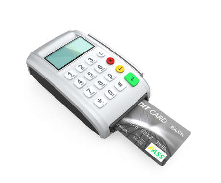 Credit card inserted into a silver card-reader, isolated on white  Stock Photo