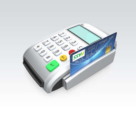 cardreader: Credit card swiping through a card-reader isolated on gray