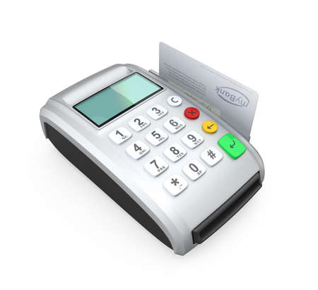 cardreader: Credit card and silver card-reader isolated on white  Stock Photo