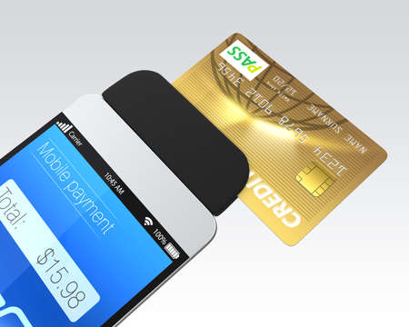 Credit card swiping through a mobile payment attachment for smartphone Archivio Fotografico