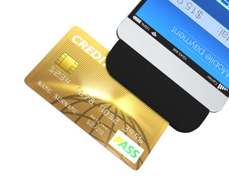 merchant: Credit card swiping through a mobile payment attachment for smartphone Stock Photo