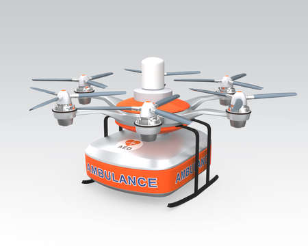 Drone carrying AED medical kit for emergency medical care concept photo