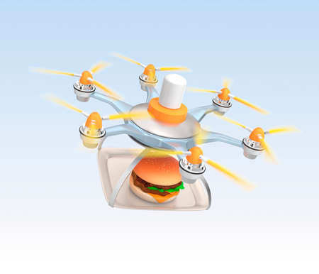 Drone Carrying Hamburger For Fast Food Delivery Concept Photo