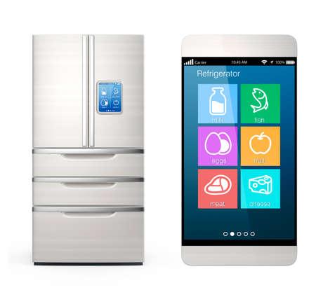 refrigerador: Monitoreo refrigerador inteligente por concepto de teléfono inteligente