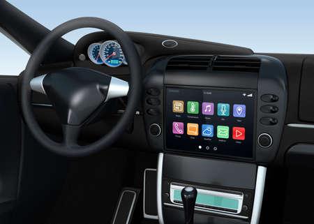 自動車用スマート タッチ画面マルチ メディア システム 写真素材