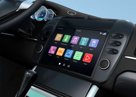 Smart touch screen multimedia-systeem voor de auto