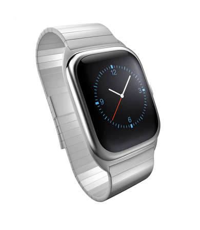 wristlet: Silver smart watch isolated on white background. Original design.