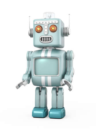 Cute vintage robot isolated on white background
