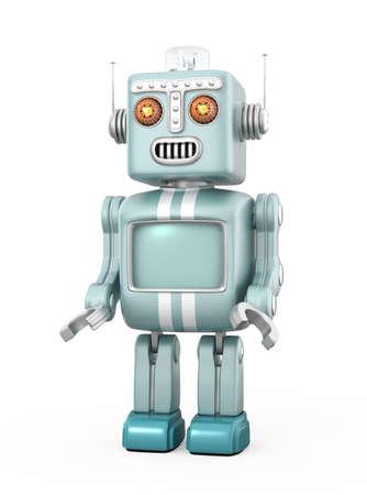 robot: Robot lindo de la vendimia aislado en el fondo blanco