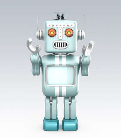 Cute vintage robot raising his hands and look forward