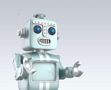 talking robot: Cute vintage robot raising hands and look forward with hope Stock Photo