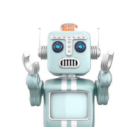 retro: Retro vintage robot raising hands and looks sorrow