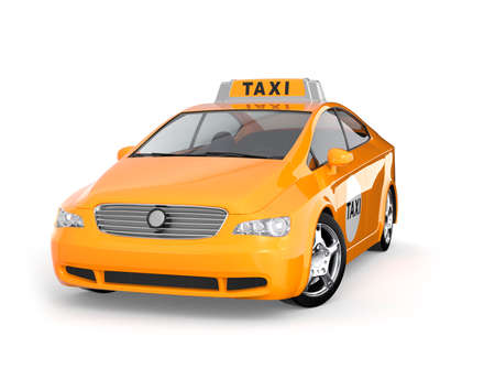 yellow taxi: Yellow taxi isolated on white background Stock Photo