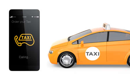 taxi: Yellow taxi and smart phone for mobile taxi order service concept
