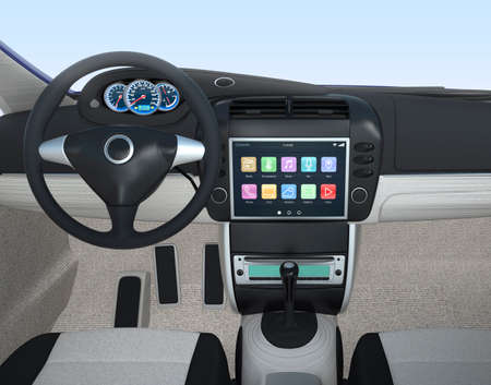 Auto multimedia console-interface Stockfoto