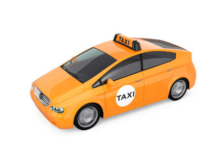 yellow cab: Yellow taxi isolated on white background Stock Photo