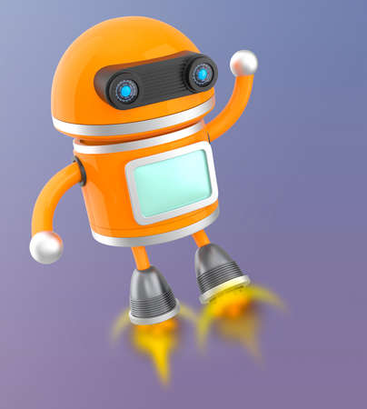 android robot: Cute android robot flying in the sky Stock Photo
