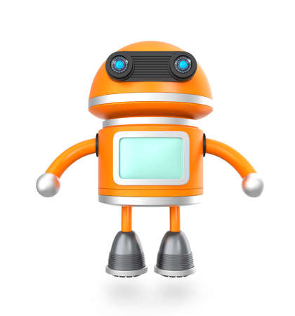 android robot: Cute android robot floating above ground Stock Photo