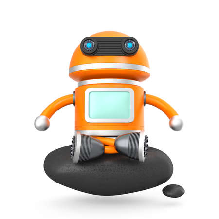 android robot: Cute android robot sitting on a black rock