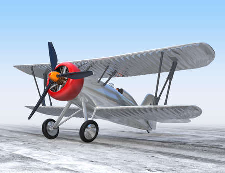 fixed wing aircraft: Aluminium biplane standing on ground Stock Photo