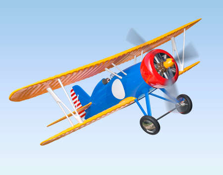 fixed wing aircraft: Yellow and blue biplane flying in the sky