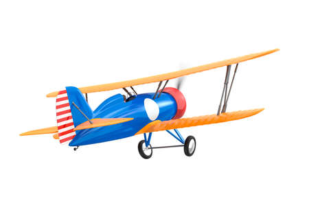fixed wing aircraft: Yellow and blue biplane isolated on white background Stock Photo