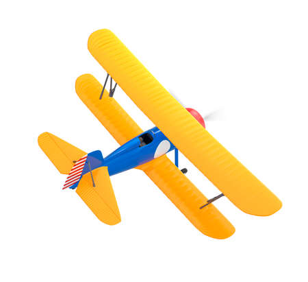 Yellow and blue biplane isolated on white background photo