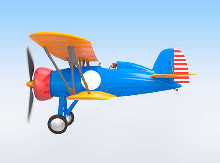 aeroplane: Yellow and blue biplane flying in the sky