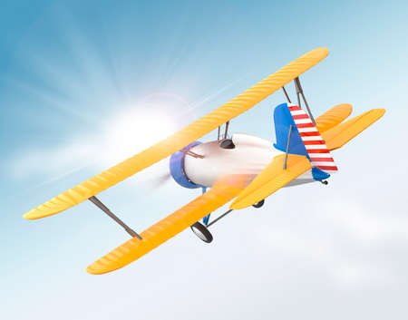 fixed wing aircraft: Yellow and silver biplane flying in the sky