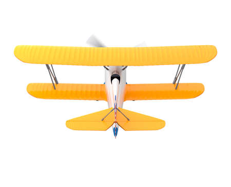 fixed wing aircraft: Yellow and silver biplane isolated on white background