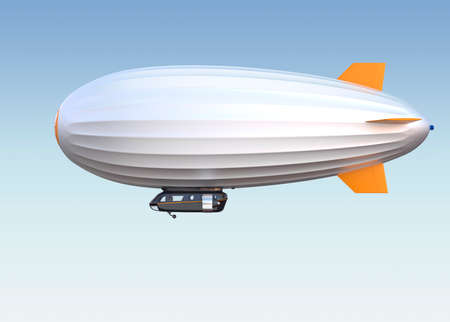 銀の飛行船が空に浮かんでいます。クリッピング パスを利用できます。 写真素材