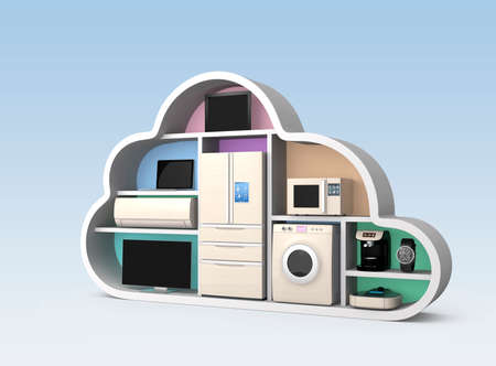 Home appliances in cloud shape for IOT concept