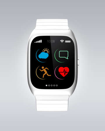 gold watch: Silver smart watch with simple icons design.