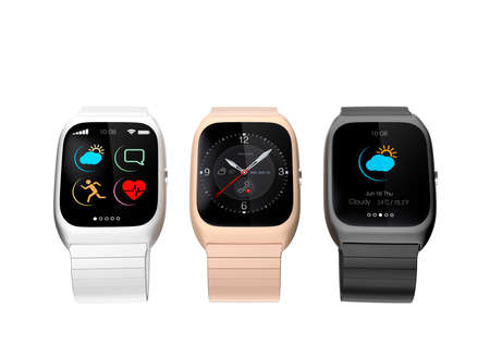 gold watch: Stylish smart watches with different apps on white background Stock Photo