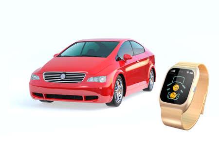 wristlet: Car door lock and unlock by smart watch. Stock Photo