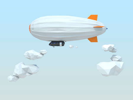 blimp: 3D low poly style blimp floating in the sky