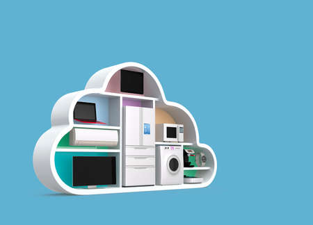 Home appliances in cloud shape for IOT concept. Clipping path available.