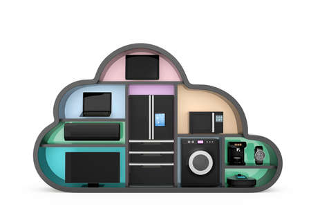 IOT の概念のための雲の形で家電。クリッピング パスは利用できます。
