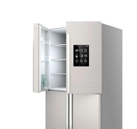 液晶画面でスマート冷蔵庫を開けた。 IoT の概念。