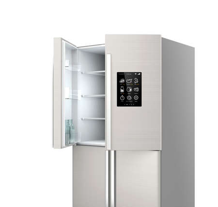 fridge: Opened Smart refrigerator with LCD screen.  Concept  of IoT.