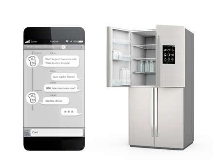 Smart refrigerator with LCD screen for monitoring. User can chat to refrigerator by smartphone chat app. Concept  of IoT.